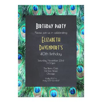 Exotic Wild Peacock Feathers Birthday Party Invite