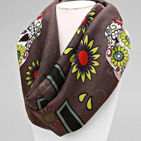 Sugar Skulls Festival Infinity Scarf Day of the Dead Wrap - Grey