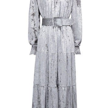 Gray Off Shoulder Belt Waist Velvet Ruffle Maxi Dress