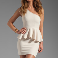 Classy White Peplum Mini Dress With Generous Waist Fabric and One Shoulder