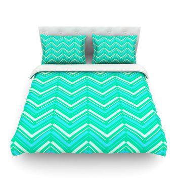 "CarolLynn Tice ""Symetrical"" Teal Turquoise Featherweight Duvet Cover"