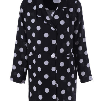 Turn-Down Collar Pocket Polka Dot Long Sleeves Shirt Dress
