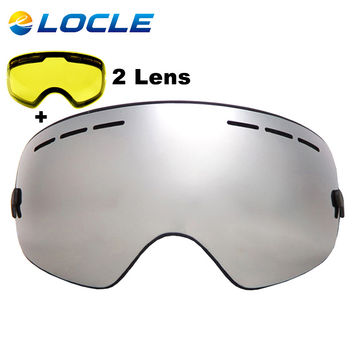 LOCLE Brand Ski Goggles Double Layers UV400 Anti-fog Big Ski Mask Glasses Skiing Snowboard Goggles With Night Vision Lens