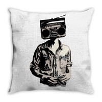 stereo head Throw Pillow
