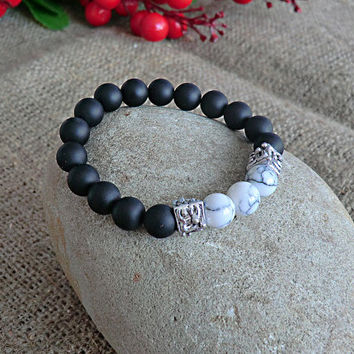 Mens Bracelet Yoga bracelet White Bracelet Gemstone Bracelet Men Jewelery Hematite Bracelet Stone Bracelet Mens gift Bracelet for men