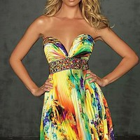 Colorful Sweetheart Short Print Strapless Homecoming Dress  :Buy at Sheinside