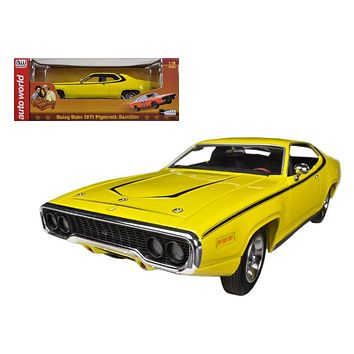 "1971 Plymouth Satellite Yellow \Dukes Of Hazzard"" Limited to 2000pc 1/18 Diecast Model Car by Autoworld"""