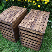 Two Side Tables From Reclaimed Wood With English Chestnut