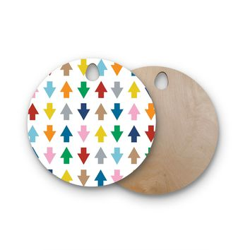 "Project M ""Arrows Up and Down White"" Round Wooden Cutting Board"