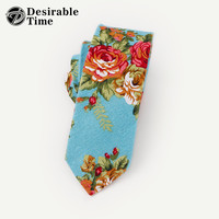 Men Skinny Floral Ties Cotton Fashion Designer Party Men Pink Wedding Neck Tie