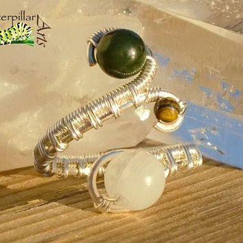 Natural Moonstone Nephrite Jade Ring - Silver Plated Copper - Adjustable Wire Wrap Ring