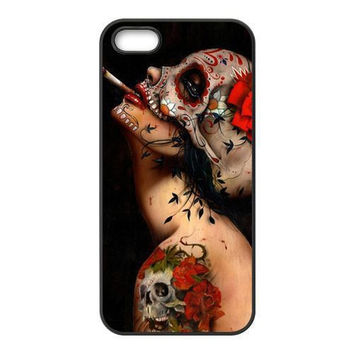Mexican Floral Sugar Skull Tattooed Lady Artwork Plastic Hard Cover Case for iphone 4/4s/5/5s/5c/6/6s/6plus/6s plus