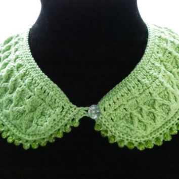 Green Crochet Collar Necklace Detached Collar Beaded Necklace Green Crochet Peter Pan Collar, Mother's Day Gift Idea  Gift for Her