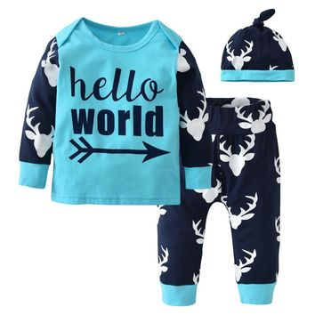 Newborn Baby Boy Christmas Clothing Set Long Sleeve Letters T-shirt+Deer Pants+Hat Toddler 3/Pcs Suit Cute Baby Boys Clothes