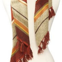 collection eighteen Women's Biased Marled Stripe Muffler Cold Weather Scarf, Sequoia Rust, One Size