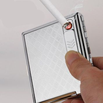 Stainless Steel Cigarette Case with Electronic Rechargeable Windproof Flameless USB Cigarette Lighter