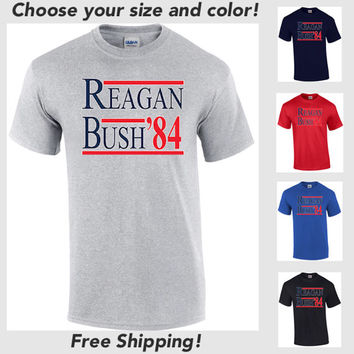 Free Shipping Reagan Bush '84 T-Shirt 84 Conservative Shirt President Election Trump Clinton Sanders Cruz Rubio
