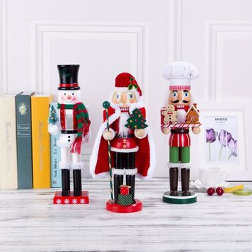 38cm New Europe Original Wood hand made The nutcrackers Santa Claus Christmas Snowman and Chef Home decoration Crafts gift