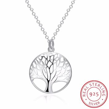 INALIS Fine Jewelry Tree of Life Pendants Necklaces 925 Sterling Silver Necklace Women Men Jewelry Charm Gift For Family Girl