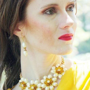 Ivory in Bloom, Handmade Glass Flower, Bib Statement Necklace (Two Piece Set With Pierced Or Clip-On Earrings)
