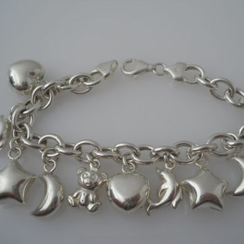 Sterling Silver 925 Puffy Charms Rolo Link Bracelet 7.5in 8mm Heart Dolphin Star Moon Bear IBB Italy 925
