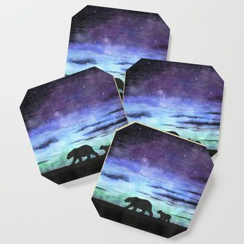 Aurora borealis and polar bears (black version) Coaster by savousepate