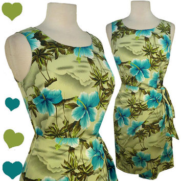 Dress Vintage 80s 50s GREEN Blue FLORAL Hawaiian SARONG Dress S M Pinup Rockabilly Tie
