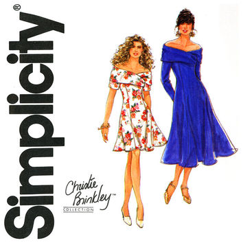 Off Shoulder Dress Pattern Uncut Bust 32 to 36 Simplicity 7618 Christie Brinkley Fit and Flare Princess Seam Womens Vintage Sewing Patterns