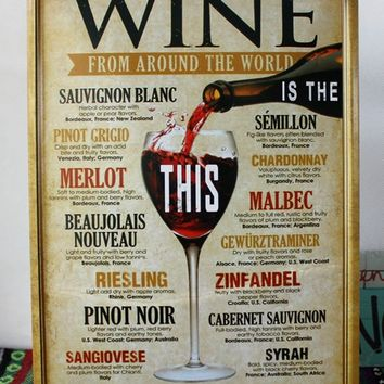 Retro Metal Poster Tin Sign Wine for Home Bar Pub wall vintage decoration ,30x20cm