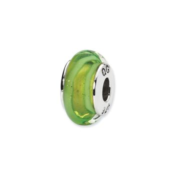 Light Green Hand-Blown Glass Bead & Sterling Silver Charm, 13mm