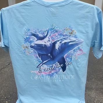 Southern Attitude Preppy Watercolor Dolphin Blue Comfort Colors T-Shirt