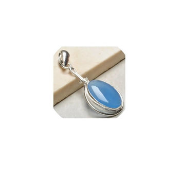 Blue Chalcedony Pendant  ,  Sterling Silver Pendant  ,  Genuine Blue Chalcedony Gemstone