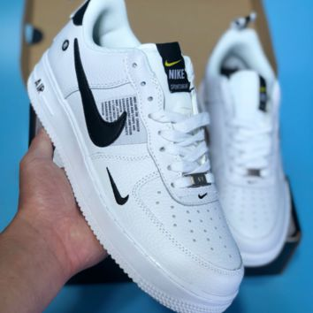 AUGUAU N511 Nike Air Force 1 AF1 Sportshe AR  Leather Casual Skate Shoes White Black