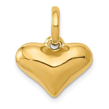 14k Yellow Gold Hollow Puffed Heart Charm or Pendant, 14mm