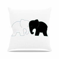"NL Designs ""Black And White Elephant Love"" Black White Outdoor Throw Pillow"