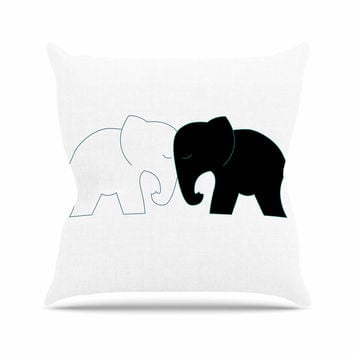 "NL Designs ""Black And White Elephant Love"" Black White Throw Pillow"
