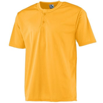 Augusta 444Mesh Two-Button Baseball Jersey-Youth - Gold