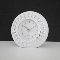 WHITE & BLING CLOCK - White with clear rhinestones