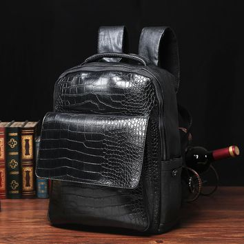 New 2017 Punk Hip-Hop solid Men Backpacks Waterproof PU Leather Women Backpacks Casual School Bags for Teenagers Zipper unisex