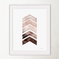 Brown Chevron Arrows art print, Brown wall art, PRINTABLE wall art, Brown wall decor, Office decor, Brown Art, Geometric Digital wall decor