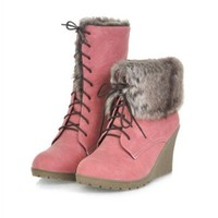 Buy Vogue Fur Embellished Lace Up Design Wedge Short Boot Pink with cheapest price|wholesale-dress.net