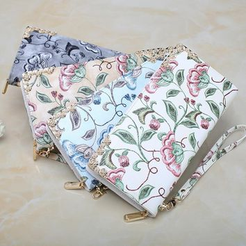 Hot Sale!Women Clutch New Wallet Female Long Wallet Traditional Chinese Arts Exquisite Floral Embroidery Women Zipper Purse