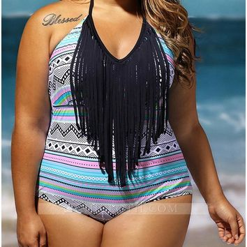 C| Chicloth Women Plus Size One Piece Swimsuit Fringes Halter Vintage Swimwear Bathing Suit