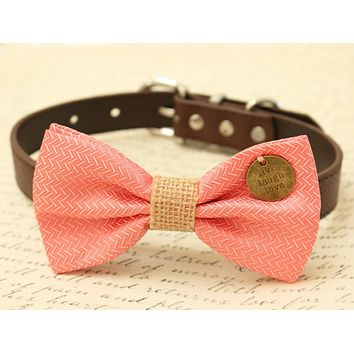 Coral Dog Bow Tie attached to brown dog collar, Coral wedding, Burlap wedding, Charm