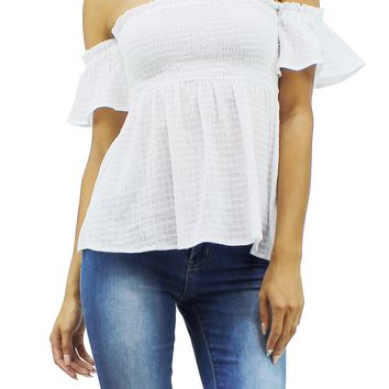Cotton Off Shoulder Short Sleeve Smocked Bust and Relaxed Fit Top