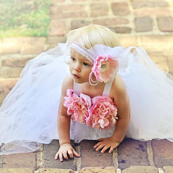 Tulle Tutu, White Tutu Dress, Flower Girl Tutu, Pageant Dress, Spring Dress, Elastic Headband, White Wedding, Outfit of Choice, Pink Flowers