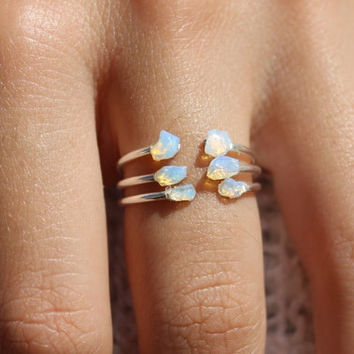 3 Opal Ring, Opal Sterling Silver Ring, White Opal Stacking Rings, Dainty Opal Ring, Stackable Rings, Opal Simple Ring