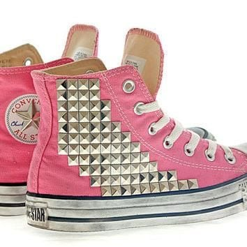 Studded Converse Pyramid studs with converse Pink high top by CUSTOMDUO on ETSY
