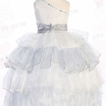 Princess Lovely Sleeveless One-shoulder Lace-up Beads Tulle Wedding/Evening Flower Girl Dress With Flowers Bow