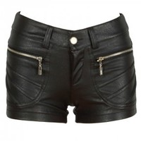 Black Leather Look Zip Detail Hot Pants